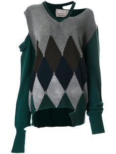 свитер с узором в ромб и эффектом потертости Ballantyne