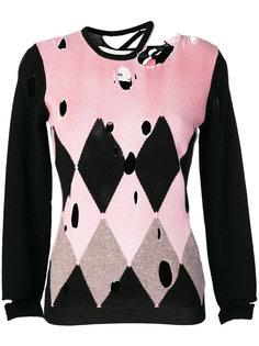 свитер в ромбик с рваными деталями Ballantyne