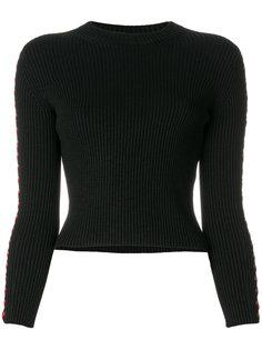 укороченный свитер с кожаной шнуровкой Alexander McQueen