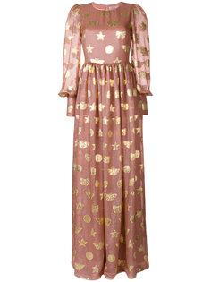 декорированное расклешенное платье-макси Piccione.Piccione