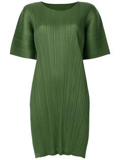 фактурное платье с короткими рукавами  Pleats Please By Issey Miyake