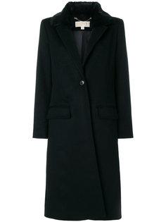 однобортное пальто с искусственным мехом Michael Michael Kors