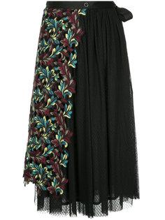 плиссированная юбка с панелью с цветочной вышивкой Antonio Marras