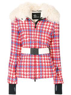 куртка в клетку с поясом Moncler Grenoble