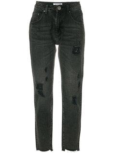 укороченные джинсы с рваными деталями One Teaspoon