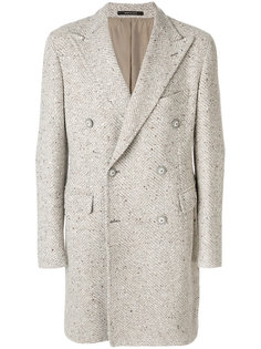двубортное пальто в елочку Tagliatore