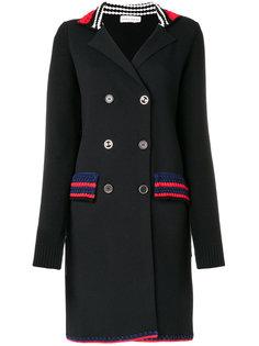 двубортное пальто с отделкой в полоску Sonia Rykiel