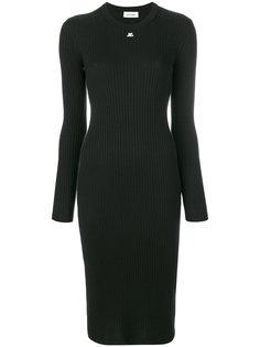 облегающее платье-свитер в рубчик Courrèges