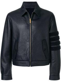 кожаная куртка с полосками на рукаве Thom Browne