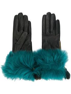 перчатки с меховой отделкой Prada