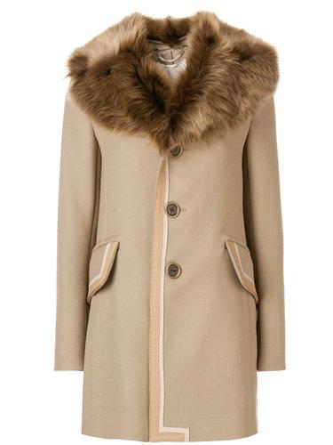 однобортное пальто с меховым воротником  Marc Jacobs