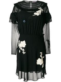 прозрачное платье с аппликацией Red Valentino