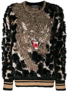 фактурный свитер с тигром  Dolce & Gabbana