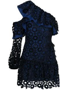 платье на одно плечо с вышивкой ришелье  Self-Portrait