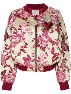 куртка бомбер с цветочной вышивкой Amen Amen.