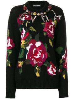 декорированный свитер с принтом Dolce & Gabbana