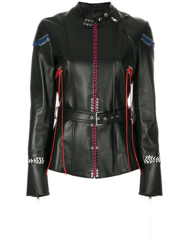 кожаная куртка с декоративной прошивкой Alexander McQueen