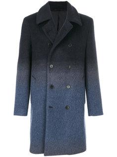 двубортное пальто с градиентным узором Versace Collection