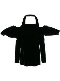 бархатное платье мини с объемными рукавами Saint Laurent