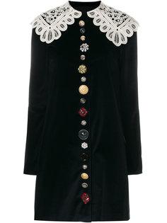 бархатное платье с кружевным воротником Dolce & Gabbana