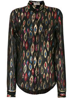прозрачная рубашка с вышивкой металлик Saint Laurent