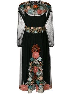 платье миди с вышивкой  Red Valentino
