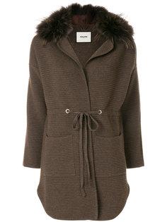 кардиган-пальто с лисьим мехом Max & Moi
