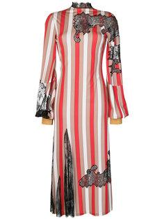 платье в полоску с кружевом Loewe