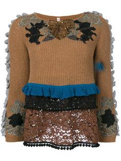свитер с вышивкой и оборками Antonio Marras