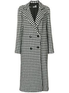 двубортное пальто в ломаную клетку Love Moschino