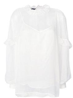 полупрозрачная блузка с оборкой  Rochas