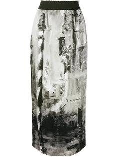юбка миди с принтом Alberta Ferretti
