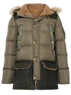 стеганое пальто с контрастными панелями Schott