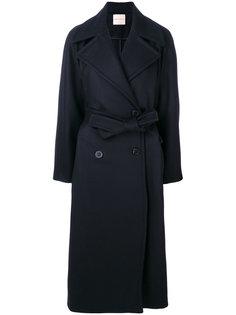 двубортное пальто с ремнем на талии Erika Cavallini