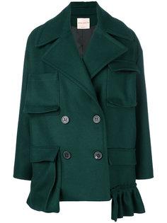 короткое двубортное пальто с карманами Erika Cavallini