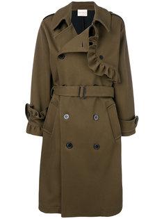 двубортное пальто с отделкой из рюшей Erika Cavallini