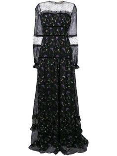 платье с узором и сетчатой вставкой  Piccione.Piccione
