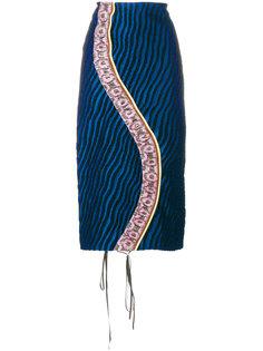 юбка-карандаш со вставкой в полоску  Marni
