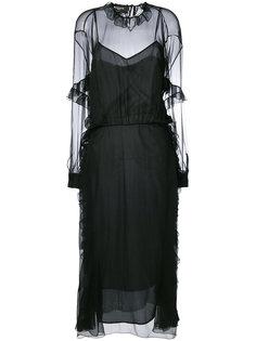 прозрачное платье с рюшами Rochas