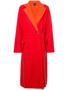 объемное пальто с поясом Giorgio Armani