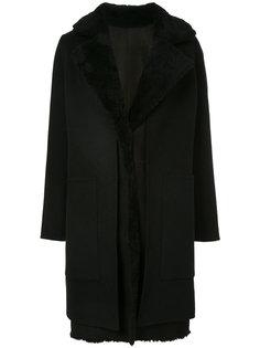пальто с контрастным воротником  Yves Salomon
