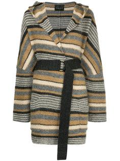 куртка в полоску с поясом  Roberto Collina