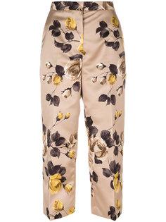 укороченные брюки с цветочным принтом Rochas