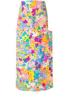 юбка макси на пуговицах с цветочным принтом Eckhaus Latta