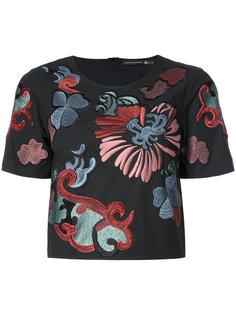 укороченная футболка с цветочной вышивкой Natori