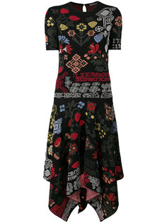 жаккардовое платье асимметричного кроя Samplers Alexander McQueen
