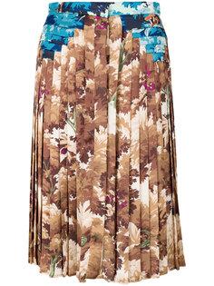 плиссированная юбка с принтом листвы  Marco De Vincenzo