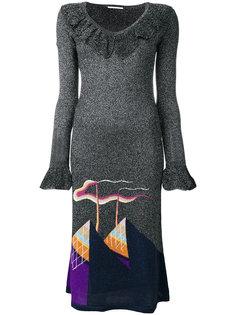 трикотажное платье с узором с металлическим отблеском Marco De Vincenzo