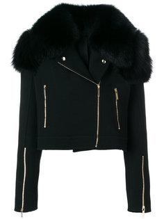байкерская куртка с воротником из меха лисы  Elie Saab