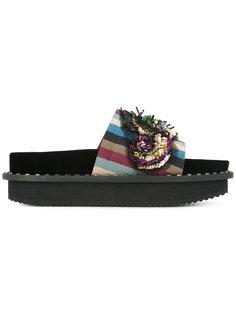 декорированные сандалии в полоску Antonio Marras